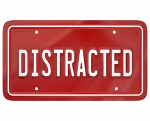 Distracted Driver Word Red License Plate Texting Driving Dangero